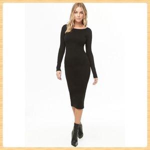 New Forever21 Black Solid Midi Dress